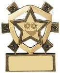 Smiley Face Gold Star Mini Shield